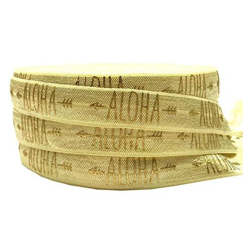 Gouden Aloha pijl afdrukken vouw elastisch lint DIY Hawaiian verjaardag haarbanden, Beach Party cadeau decoratie accessoire 16mm 10Y, geel