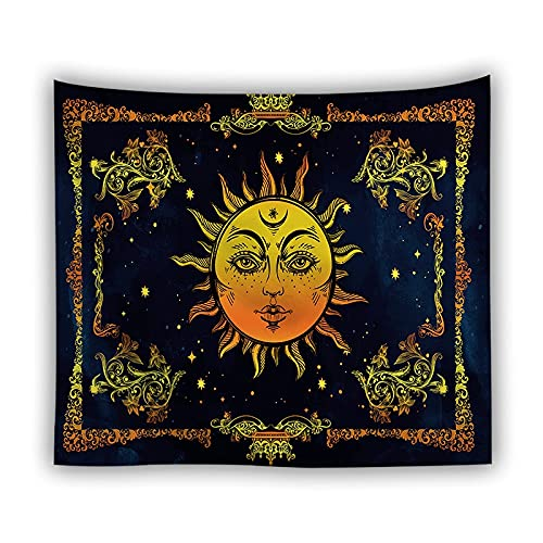 Mandala blanco y negro tapiz de sol y luna tapiz de pared brujería hippie tapiz psicodélico manta A10 150x200cm
