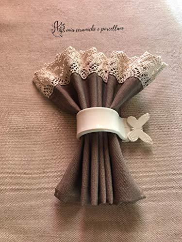 Portatovagliolo farfallina, portatovaglioli personalizzati fatti a mano in ceramica bianca artigianale artistica