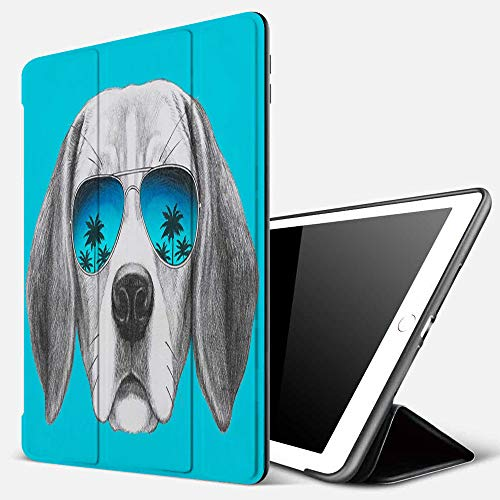 iPad 9.7 inch 2017/2018 Case/iPad Air/Air 2 Cover,Portrait of Beagle Dog with Mirror Sunglasses Hand Drawn,PU Leather Shockproof Shell Stand Smart Cover with Auto Wake