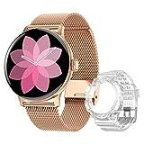 DTNO.I Smartwatch Donna con Chiamate Bluetooth, 1.3'' Touchscreen a Colori, IP67 Impermeabile con Cardiofrequenzimetro, Contapassi, Assistente Femminile per Android e iOS (Oro)