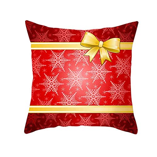 LEEDY New Christmas Pillow Case Red Cushion Cover Xmas Home Decoration Covers for Home Bedroom Sofa Office Decor Supplies, 45cm x 45cm