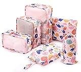 Cubos de Embalaje 6 Set de Organizador de Viaje con Bolsa de Zapato, Impermeable Organizador de Equipaje para Maleta (Flor Rosa)