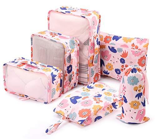 Tuscall Set di 6 Cubo di Viaggio per i bagagli, Organizer Valigia, Cubi da Imballaggio - Perfetto di Viaggio Dei Bagagli Organizzatore (Rosa Fiore)