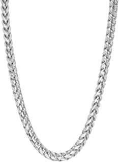 Verona Jewelers 925 Sterling Silver 3MM 4MM 5MM Solid Franco Chain Necklace, 925 Round Box Link Rhodium Franco Necklace, M...
