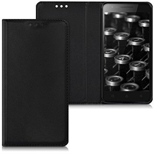 "kwmobile Hülle kompatibel mit Lenovo C2 (5\"") - Kunstleder Handy Schutzhülle - Flip Cover Case Schwarz"
