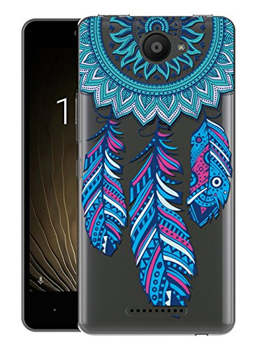Sunrive Für BQ Aquaris U/U Lite Hülle Silikon, Transparent Handyhülle Schutzhülle Etui Hülle Backcover für BQ Aquaris U/U Lite(Traumfänger)+Gratis Universal Eingabestift