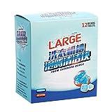 QiKun-Home 12 Unids/Set Detergente Efervescente Tableta Lavadora Limpiador Descalcificador Limpiador Profundo Desodorante Suministros de lavandería Azul Blanco