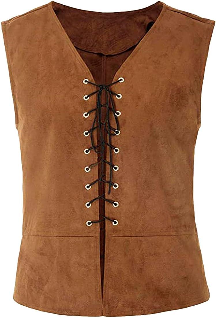 Omoone Men's Renaissance Steampunk Gothic Lace Up Vest Vintage Sleeveless Waistcoat