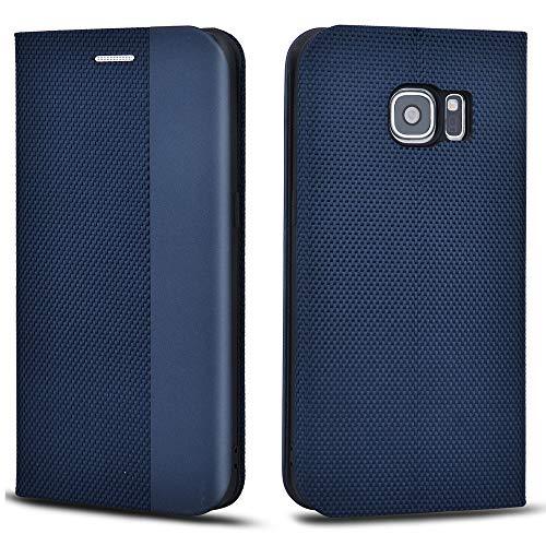 Aicoco Schutzhülle für Samsung Galaxy S7 Leder Hülle Flip Case Handyhülle - Blau