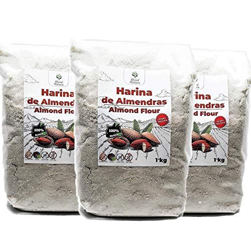 Harina de Almedras – 3 paquetes de 1kg - Ideal para Reposteria – Sin Gluten –Natural de Origen Nacional – Molida