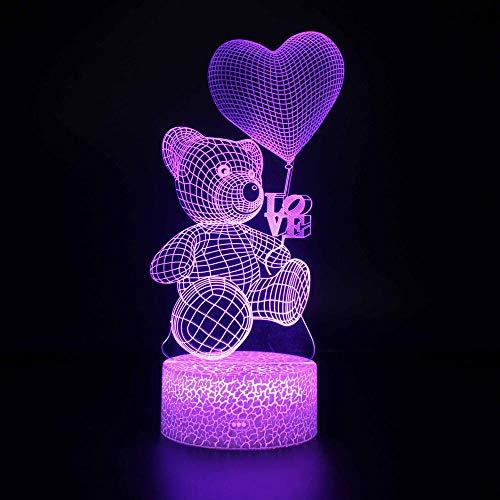 Luz de noche 3d Ilusión óptica 3D Lámpara de mesa 7 colores de Acrílico Plano & ABS Base & Cargador USB Oso globo