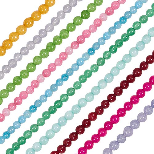 NBEADS 10 Hilos 63pcs/Strand Granos de Jade Natural Granos Redondos Hilos para Hacer Collar de Pulsera, 6 mm, Agujero: 1 mm