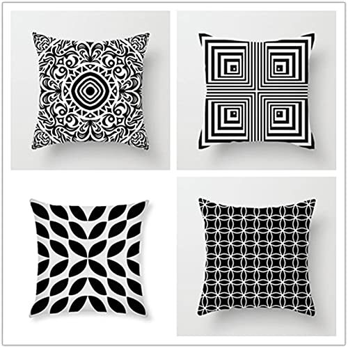 Pillow Case Cushion Cover, mandala nero 4 Pieces Pillow Case, Throw Pillow Covers, Home Decoration Pillow Case, Super Soft Sofa Cushion, for Living Room Sofa Bed Auto 50x50cm(20x20in)