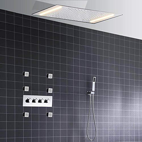 SJIUH Juego de Ducha Juego de Cabezal de Ducha LED termostático montado en el Techo de 3 Funciones para baño, Juego de Grifo de Ducha de Chorro de Lluvia, Juego con Ducha de Mano