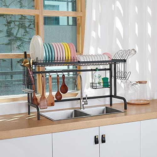 X-cosrack Over The Sink Dish Drying RackAbove Sink Kitchen Drainer Rackfor Kitchen Supplies Organizer Storage Space Saver Shelf with 5 Utility Hooks Adjustable feet Sink Size ≤ 338 inch