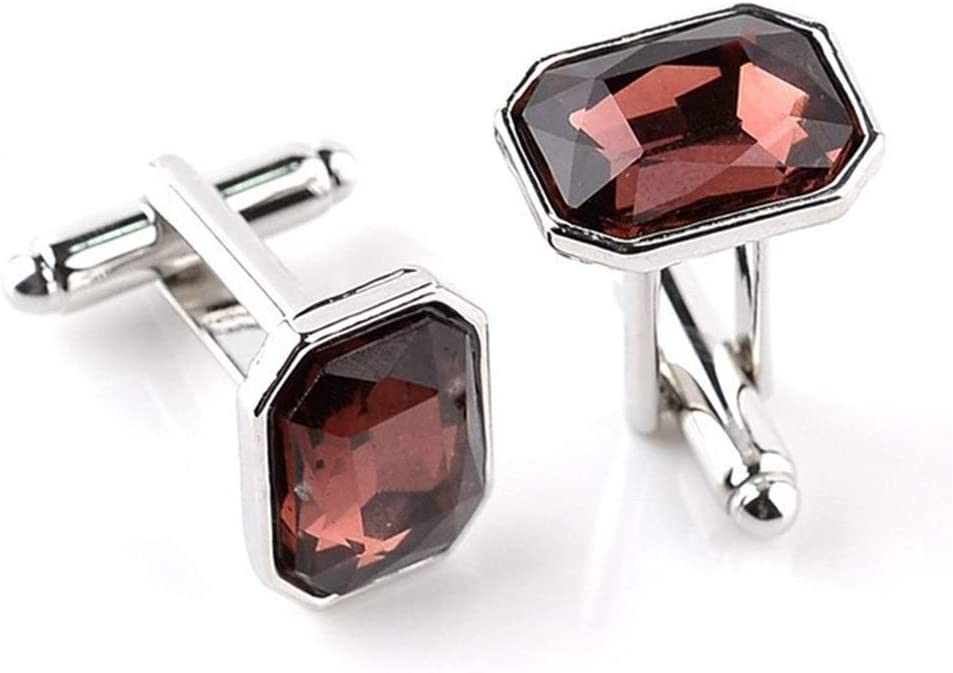 5 Colors Blue Purple Cufflinks for Men Zircon Insert Shirts Cuff Links Cuff Buttons (Metal Color : Red)