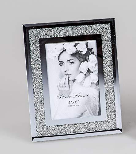 formano Bilderrahmen 10x15 cm mit Strass Diamanten Spiegel Rahmen Fotorahmen Fotohalter Foto Bild