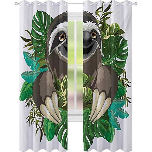 cortinas de la ventana, Dibujos animados mamífero sobre la selva tropical con...