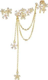 Blossom CZ Flower Ear Cuff Wrap Clip On Clawler Climber Hoop 925 Sterling Silver Stud Chain Threader Tassel Asymmetric Ear...