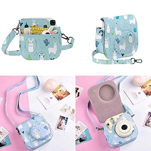 SAIKA Instant Camera Accessories Bundle Compatible with Fujifilm Instax Mini 9 8 8+, Include Case, Photo Album, Film Frame, Sticker, Strap and More - Alpaca