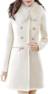 Wool Lapel Trench Parka Coat Women Warm Outwear Long Jacket Overcoat