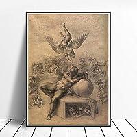 ミケランジェロの絵画インテリア《人類生活の夢》ポスター室内装飾壁の芸術家のリビングルームの装飾画像プリントキャンバスアート装饰ワーク40x60cmフレームなし