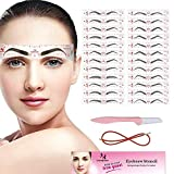 Eyebrow Stencil, 24 Eyebrow Shaper Kit, Reusable Eyebrow Template With Strap, 3 Minutes Makeup,...