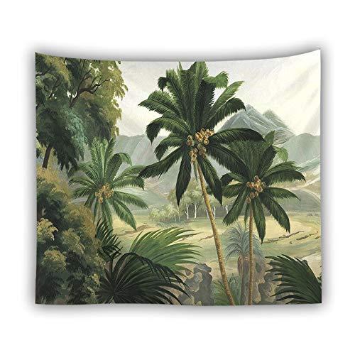 KHKJ Tapiz de Hojas Verdes 3D Planta Tropical Colgante de Pared Casa de Campo Decoración del hogar Tapiz Mantel Colcha Tenture Alfombra A20 95x73cm