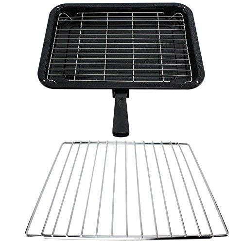 SPARES2GO kleine grillpan, rek & afneembaar handvat met verstelbare plank voor Smeg Oven Fornuizen