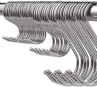Pack van 60 S haken Heavy Duty roestvrij staal S-vorm haken voor het ophangen van hangers voor keuken, badkamer, slaapkame...