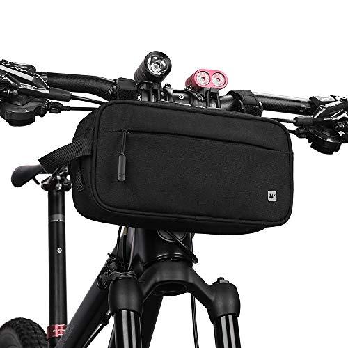 SHINYEVER Borsa per Manubrio da Bicicletta Tasca Frontale per Il Ciclismo MTB Biciclette Pieghevoli (Nero)