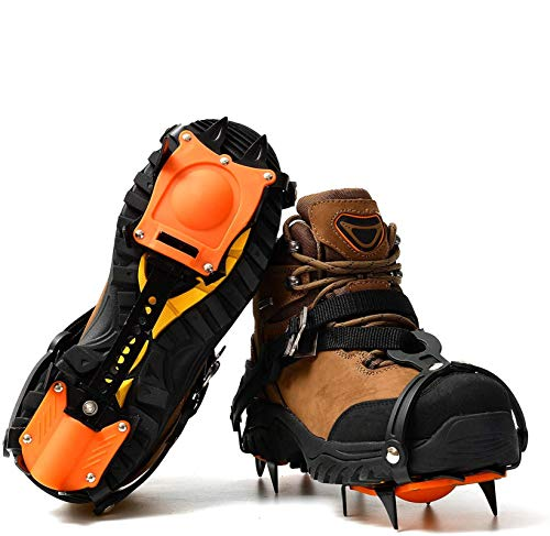 Crampons for Snow Shoes, 10 Spikes Stainless Steel Anti-Slip Traction Ice Cleats, Safe Protect for Walking, Jogging, Or Hiking On Snow and Ice (Orange)