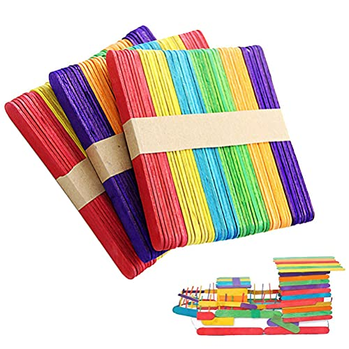 Pack of 50 Natural Craft Wood Sticks, Multicolor Wooden Ice Lolly Sticks, DIY Colorful Ice Cream Making Spatulas, for Kids Adults Arts Crafts Supplies