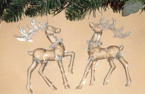 Set of 2 Beautiful Clear Fancy Reindeer Christmas Ornaments ~ Looks Like Glass ~ 5.7in H