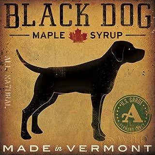 Buyartforless Black Dog Maple Syrup by Ryan Fowler 12x12 Signs Dogs Black Labrador Animals Art Print Poster Vintage Advertising