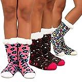Teehee Womens Soft Premium Thermal Double Layer Crew Socks 3-Pack (9-11, Deer)