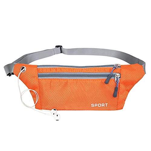 enknight Slim Design Bum bags RFID Money Belt Waterproof Running Belt Travel Hip Waist Bag Fanny Pack Secure holds iPhone 6 Plus,Tickets and Passports (Orange)