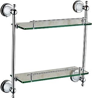 ZHAOHUI 浴室用ラック 強化ガラス 壁掛け式 銅 退色なし きれいになること容易 転倒防止、 パンチ取り付け、 2色 (色 : ゴールド, サイズ さいず : 42x12x40cm)