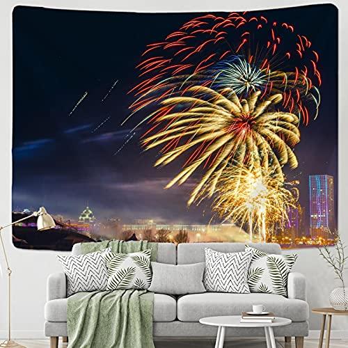 shuimanjinshan Christmas Fireworks Tapestry Ornament Wall Hanging Tapestry Carpet Home Deocr Yoga Pad Bedspread Beach Mat Gift 150X180Cm