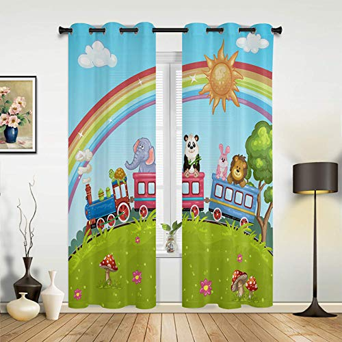 Fantasy Staring Blackout Curtains for Bedroom Under The Bright Rainbow Small Animals are Riding a Roller Coaster Thermal Insulated Grommet Window Curtain for Living Room Office, 2 Panels, 52' x 63'