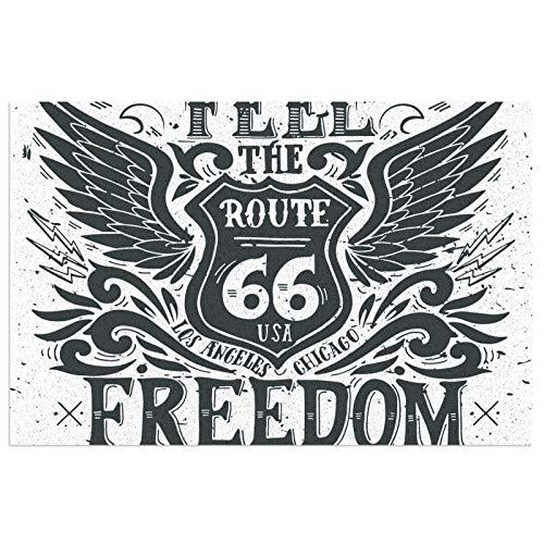 Freedom Route 66 - Felpudo para puerta delantera, interior o exterior, impermeable, antideslizante, atrapa el polvo y la nieve 50 x 30 cm