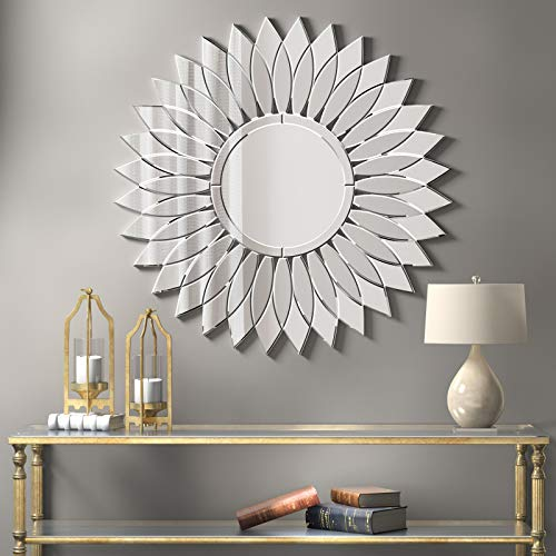 Sunburst Decorative Wall Mirror - Modern Sunflower Frameless Mirror 32
