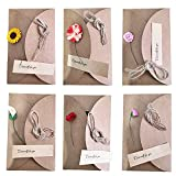 Biglietto Di Auguri Cartolina Buste, 6 pezzi Retrò Carta Kraft Fiori Secchi Decorato Cart...