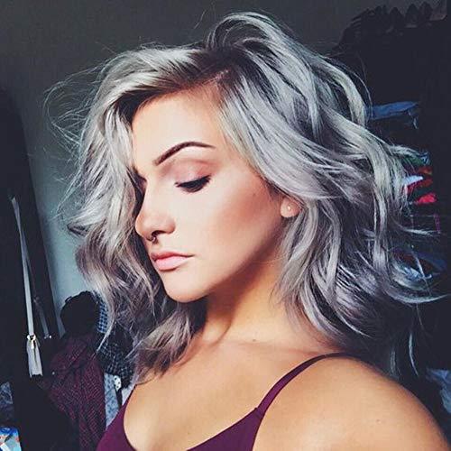 YEESHEDO Silber Grau Perücken Kurz Bob für Frauen, Ombre Graue Gewellte kurze Synthetik Haare Perücke, natürliche tägliche Verwendung Haar Cosplay Kunsthaar Wellige Perücke 14 Zoll