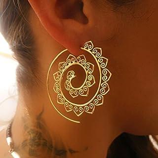 Brass Earrings - Brass Spiral Earrings - Gypsy Earrings - Tribal Earrings - Ethnic Earrings - Indian Earrings - Statement Earrings (EB46)