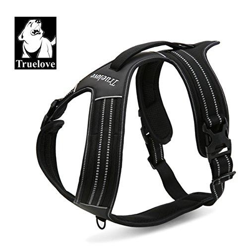 True Love TLH5551 Reflektierendes Hundegeschirr mit Griff, weich gepolstert, kein Ziehen, strapazierfähige Oxford-Außenschicht für große Rassen, Medium, schwarz
