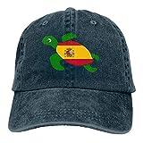 Desconocido Gorras de béisbol de Tela de Mezclilla Ajustable para Hombres/Mujeres Gorra de Hiphop con Bandera de España de Tortuga Marina