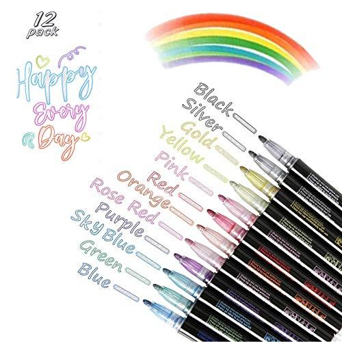 12 Farben Magic Pens, Outline Magische Stifte Double Line Pen, Wasserfest Glitzer Zweizeiliger Stifte Schnelltrocknend Permanent Marker für Malen, DIY Karte Gästebuch, Grußkarten, Graffiti(Mehrfarbig)