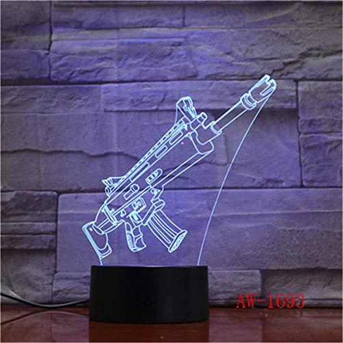 3D Scar Lamp Raket Launcher LED Nachtlampen Fortnitte 3D Lichten 7 Cambio de Color para el dormitorio Decoración para el hogar Niños Regalos Ju